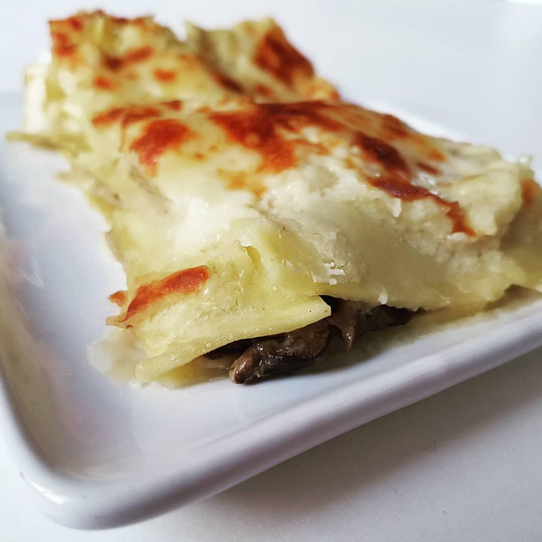 Lasagne aux champignons et sa fausse sauce béchamel au chou-fleur