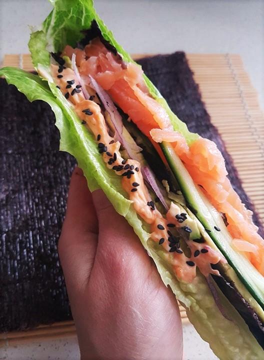 Wrap de laitue façon sushi sans riz