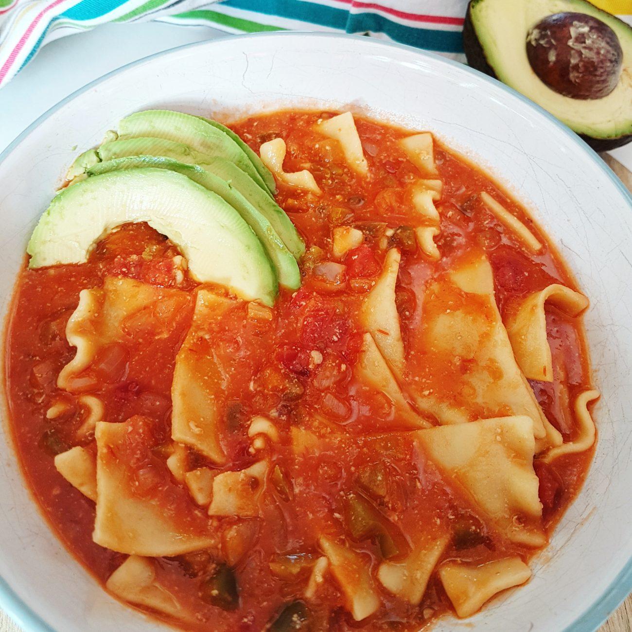 Mexican Lasagna Soup